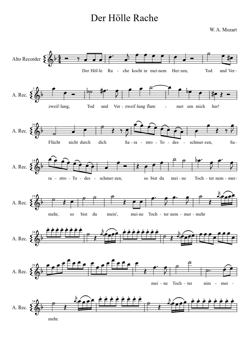 Der Hoelle Rache From The Magic Flute By W A Mozart Sheet Music For Recorder Solo Musescore Com