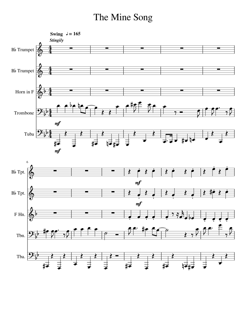 Lazytown's the mine song for brass quintet sheet music for trumpet.