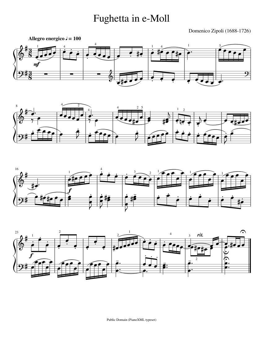 zipoli: fughetta in e-moll sheet music for piano (solo)   musescore.com  musescore.com