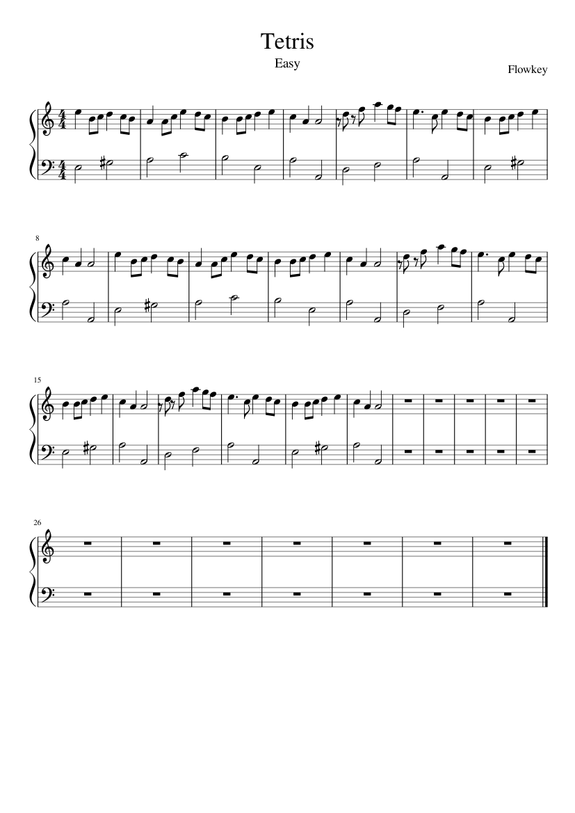 Tetris sheet music composed by Flowkey – 1 of 1 pages