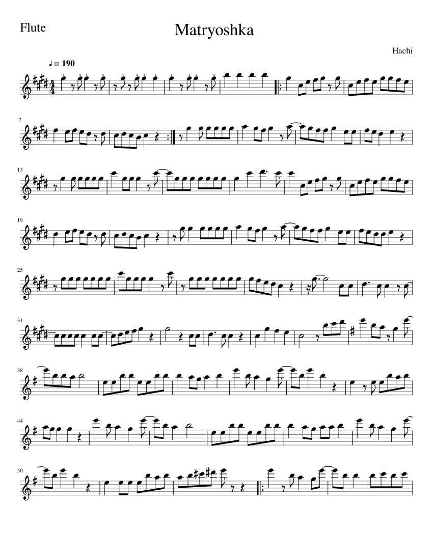 Matryoshka sheet music composed by Hachi – 1 of 2 pages