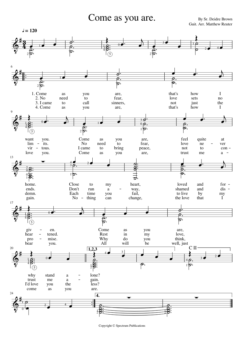 Come as you are sheet music for Piano download free in PDF