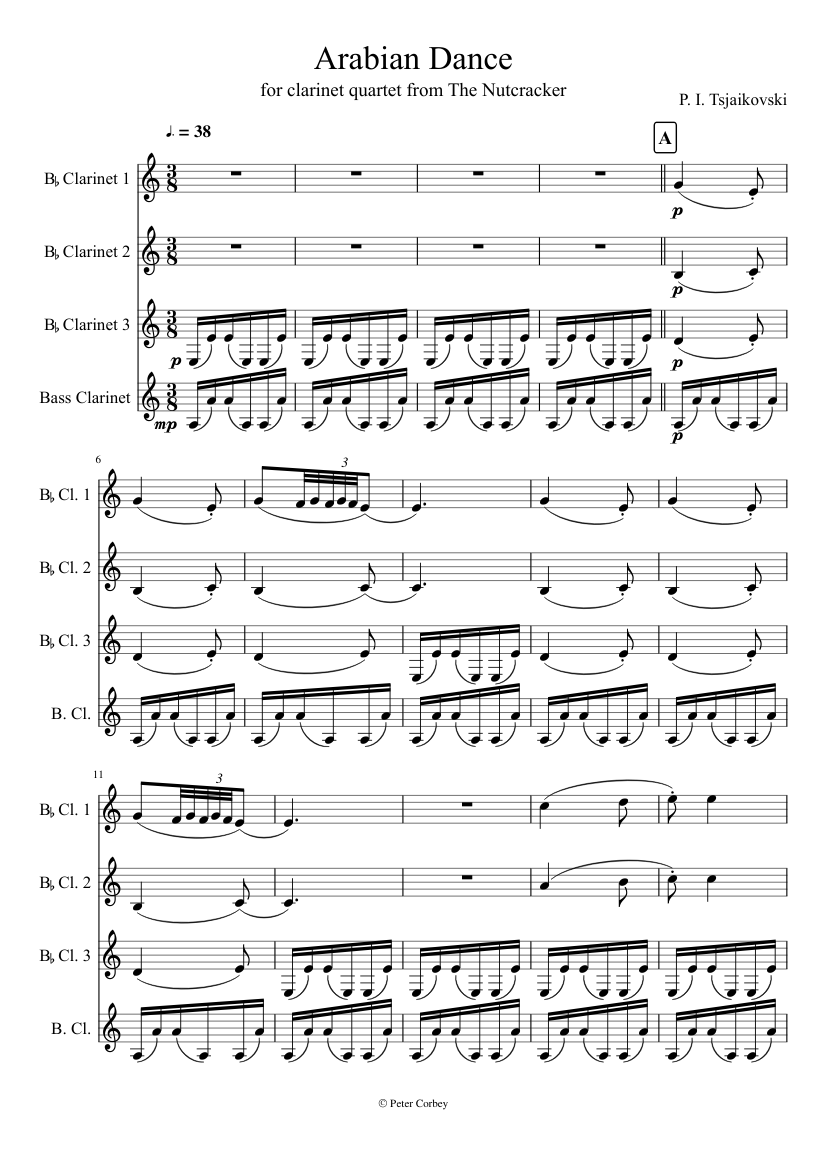 arabian dance for clarinet quartet from the nutcracker by p.i. tsjaikovski sheet  music for clarinet (bass), woodwinds (other) (mixed quartet) | musescore.com  musescore.com
