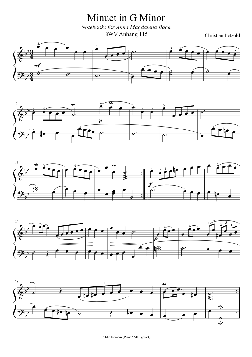 Bach Minuet In G Minor Bwv Anh 115 Sheet Music For Piano Solo Musescore Com