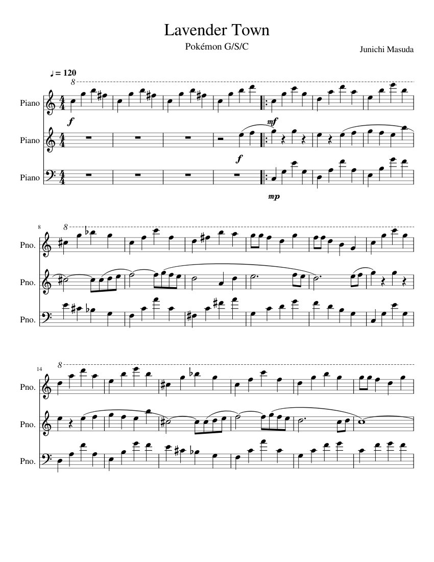 Pokémon Gsc Lavender Town Sheet Music For Piano Download Free In