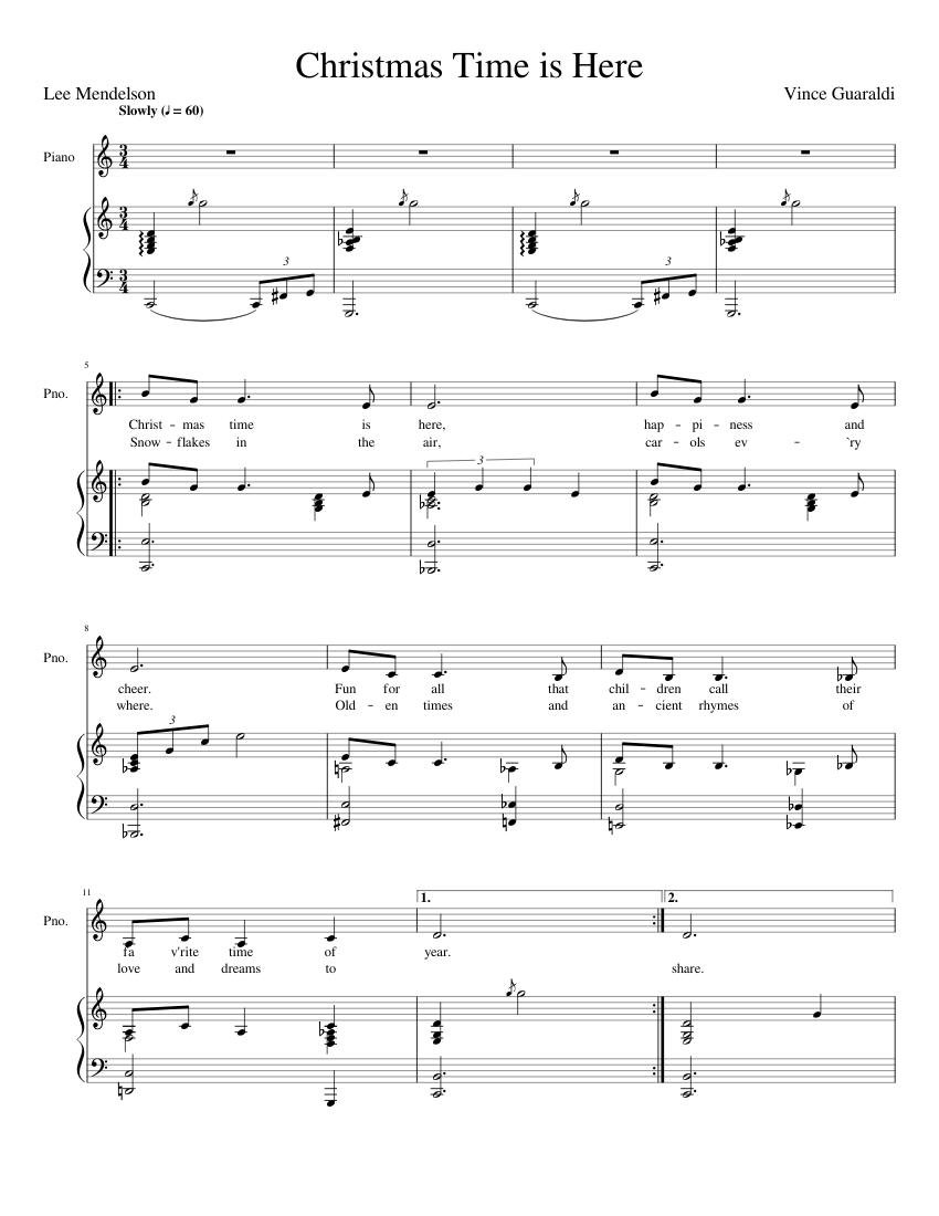 Christmas Time is Here sheet music for Piano download free