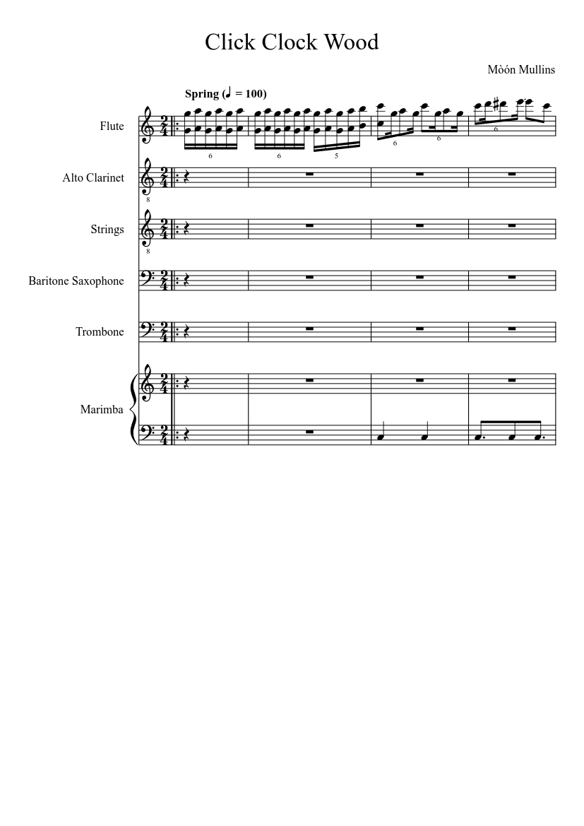 Click Clock Wood Sheet Music For Trombone Flute Strings Bowed Other Mixed Trio Musescore Com