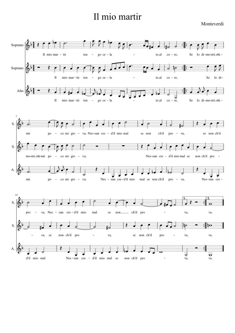 Il Mio Martir Claudio Monteverdi Sheet Music For Voice Download