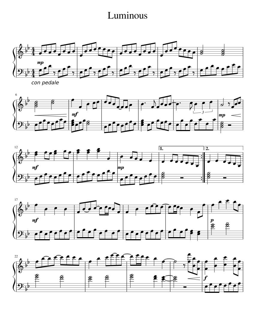 luminous sheet music for piano (solo) | download and print in pdf or midi  free sheet music | musescore.com  musescore.com