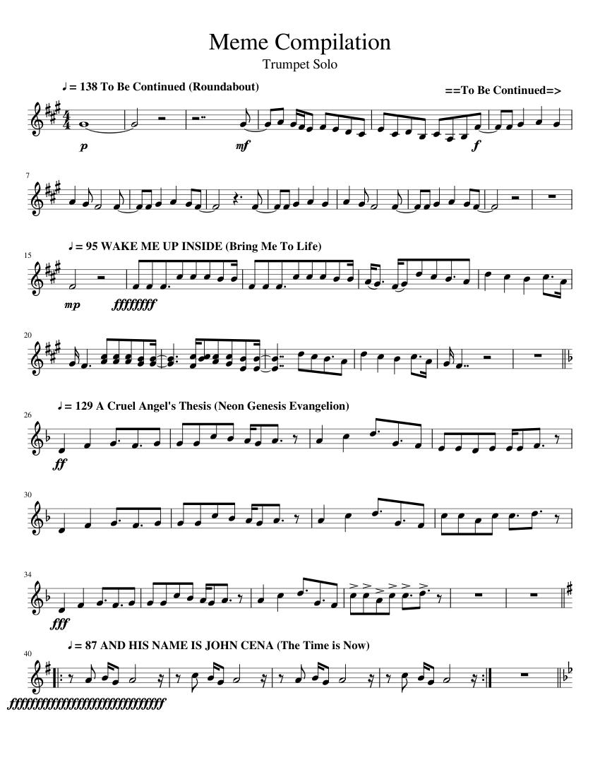 Meme Compilation - Trumpet Solo (V6.0) sheet music for ...