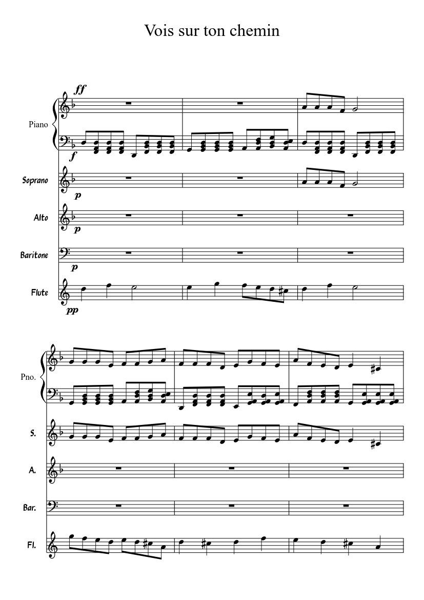 Vois sur ton chemin sheet music download free in pdf or midi.