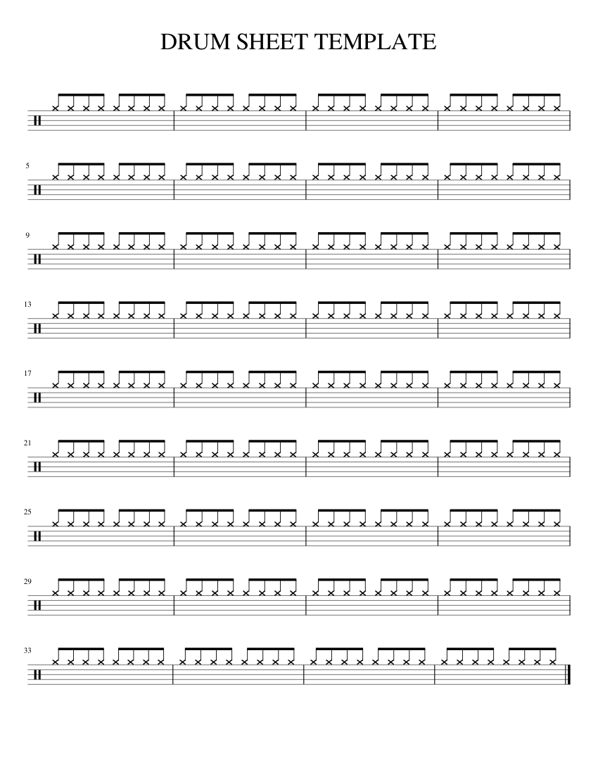 Blank Drum Sheet Template Sheet Music For Percussion Download Free
