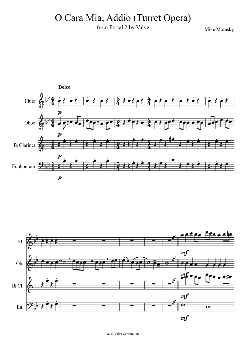 Cara mia addio (portal 2) sheet music for clarinet download free.