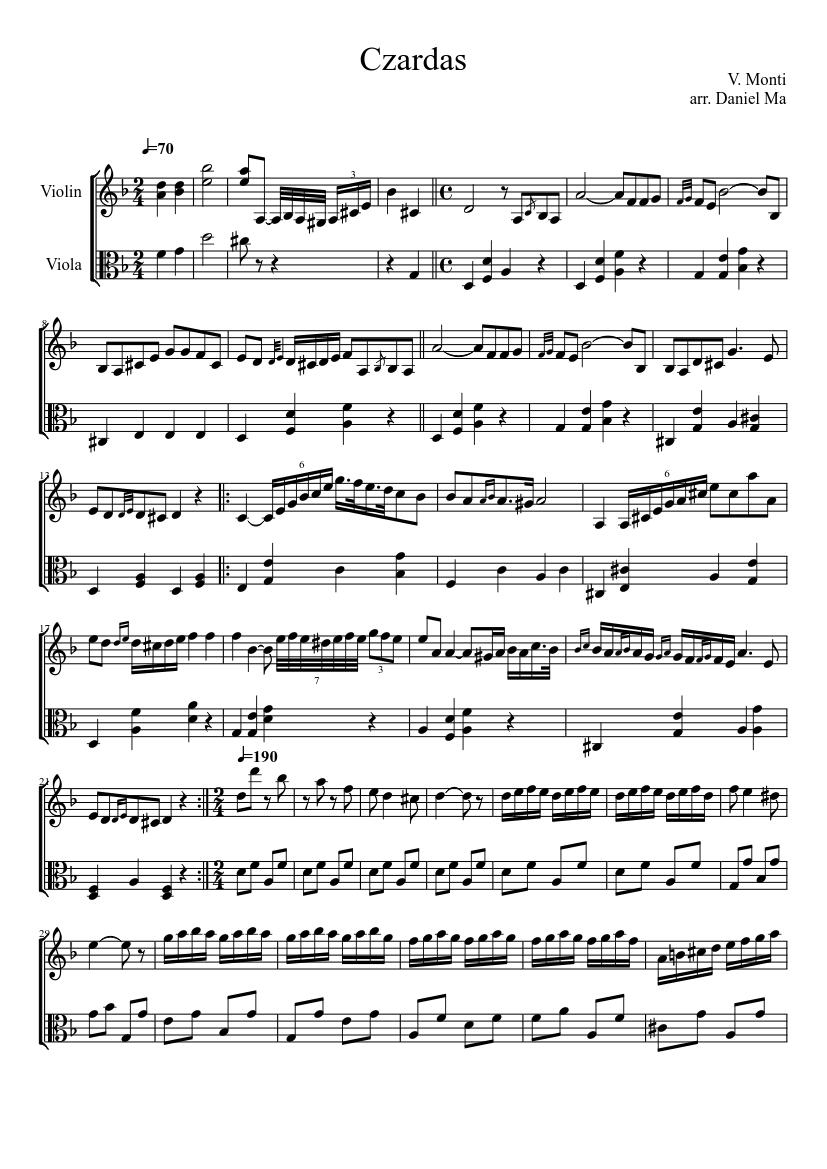 czardas for violin and viola sheet music download free in pdf or midi