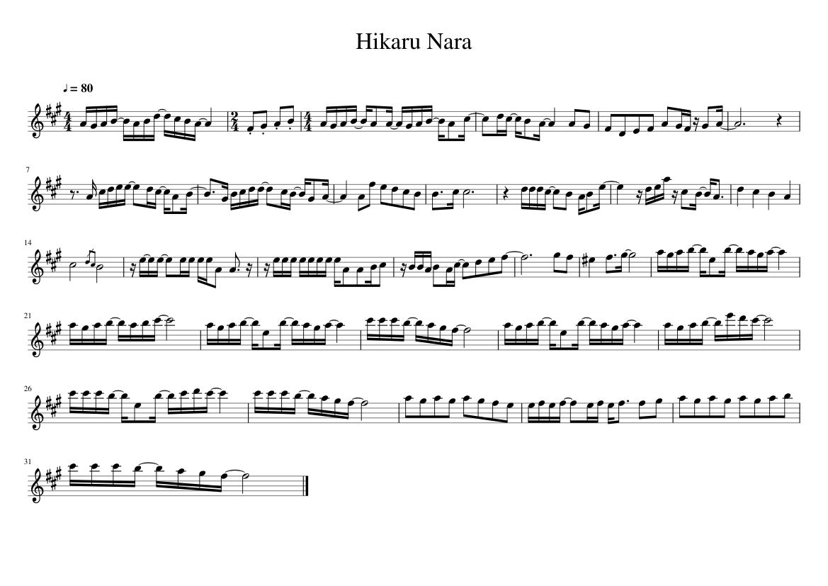 Hikaru Nara Sheet Music For Violin Solo Musescore Com