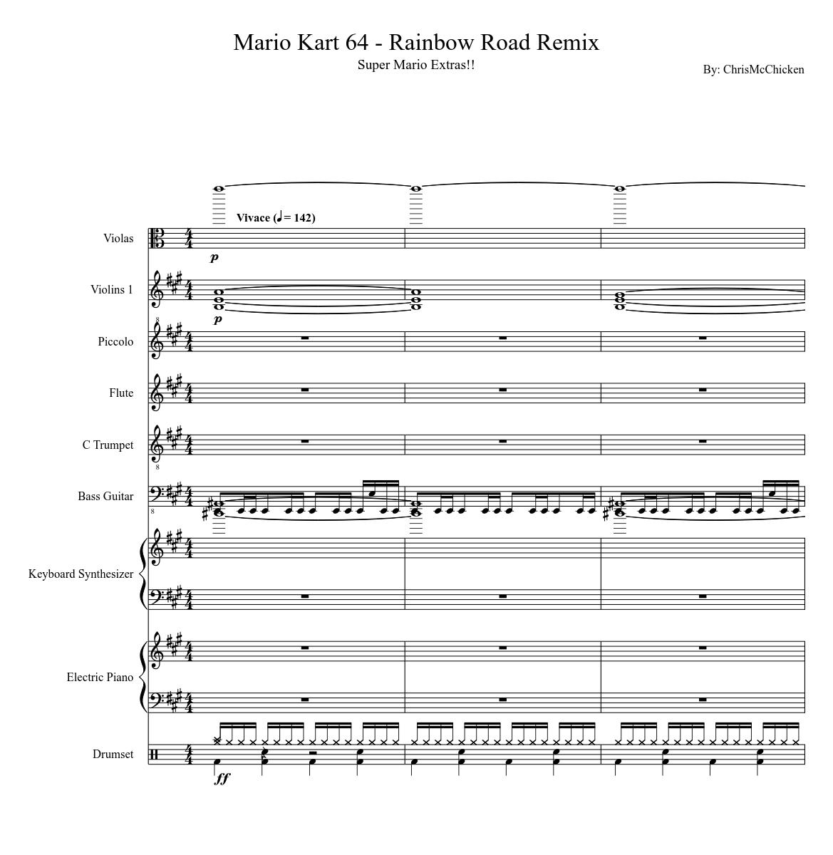 Mario Kart 64 Rainbow Road Sheet Music For Flute Trumpet Oboe