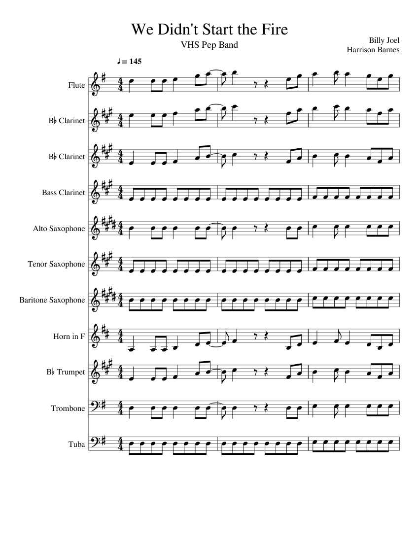 we didn't start the fire sheet music for trumpet (in b flat), trombone,  flute, clarinet (in b flat) & more instruments (mixed ensemble) |  musescore.com  musescore.com