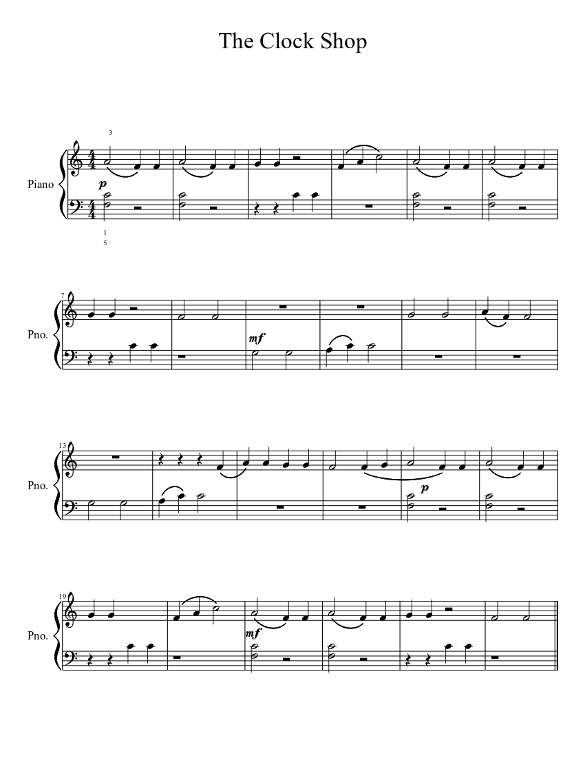 The Clock Shop sheet music download free in PDF or MIDI