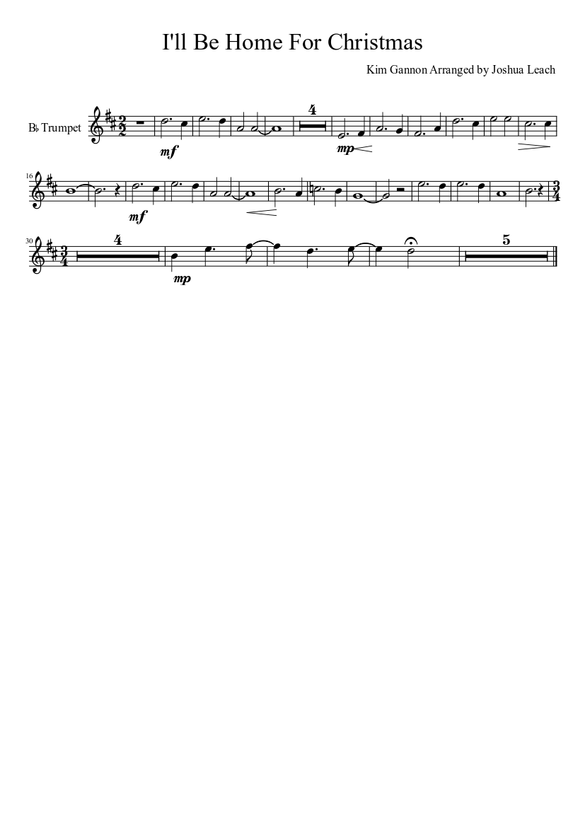 I\'ll Be Home For Christmas-Trumpet Revised sheet music download free ...