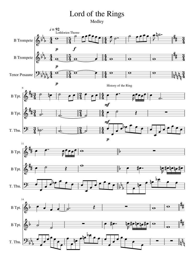 Lord of the rings medley trio sheet music for trumpet, trombone.