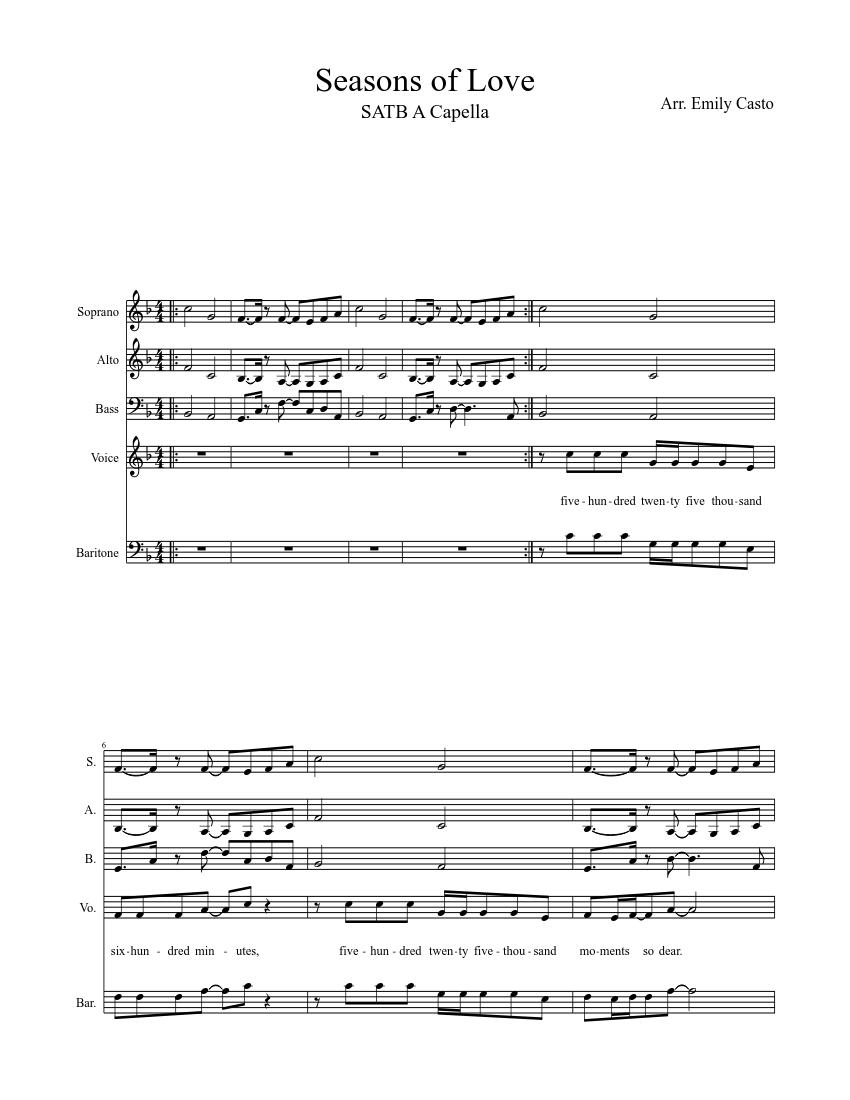 Seasons of Love SATB A Capella sheet music download free in PDF or MIDI