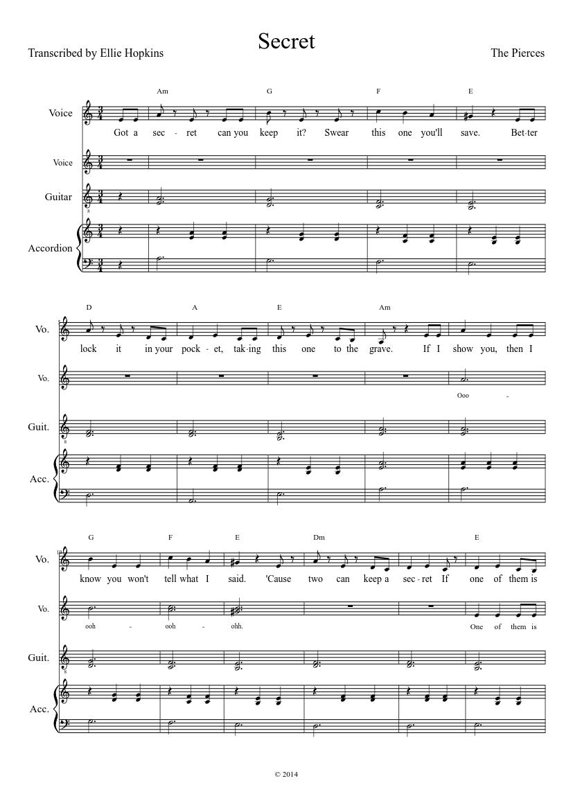 The Pierces - Secret (pretty little liars) Sheet music