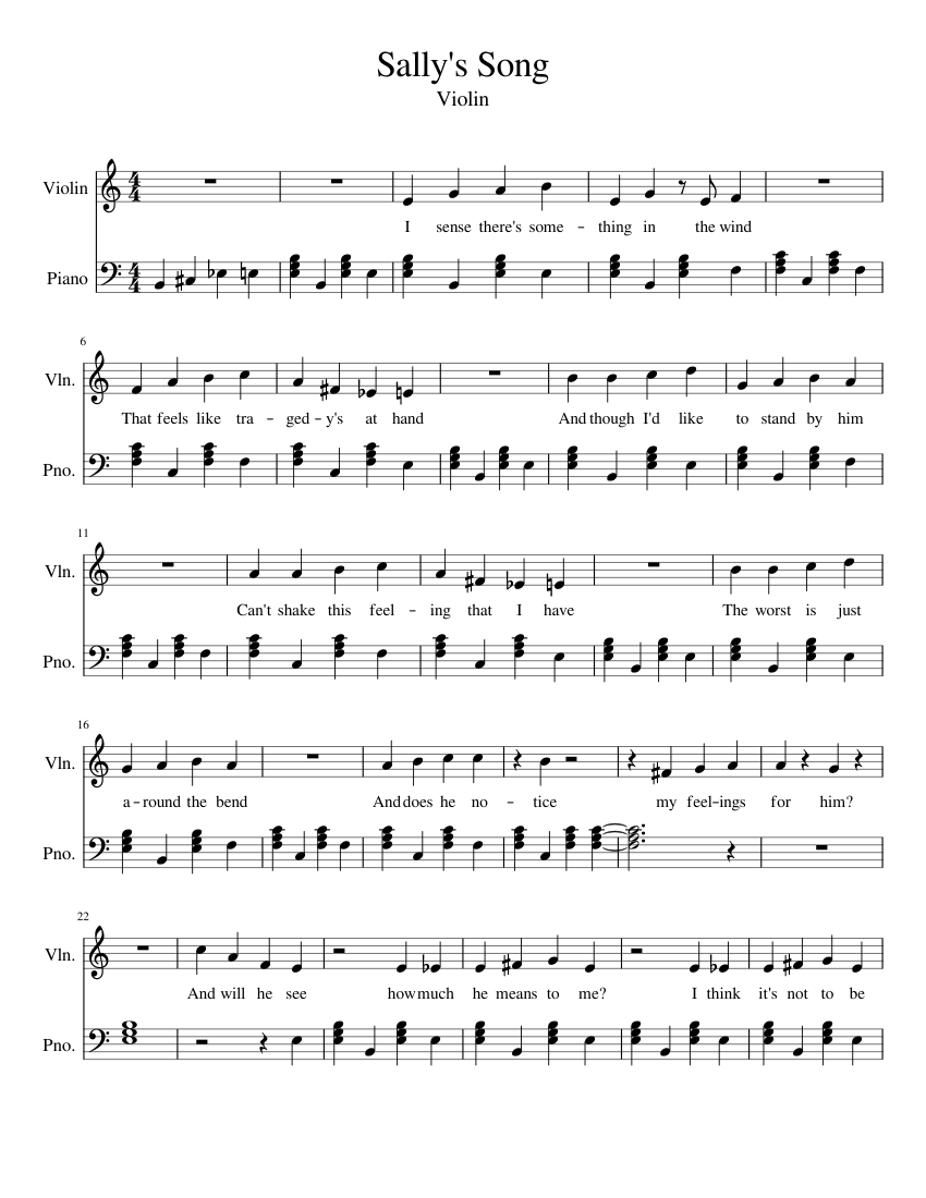 Sally's Song sheet music for Violin, Piano download free in PDF or MIDI