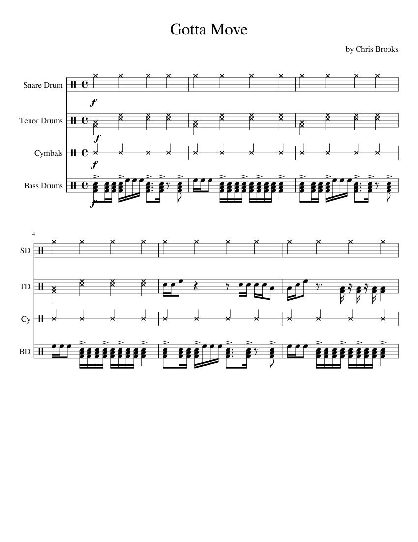 drumline cadence gotta move by chris brooks sheet music for