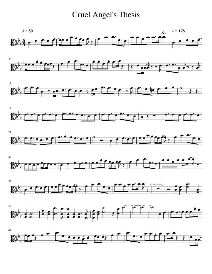 cruel angels thesis violin sheet music
