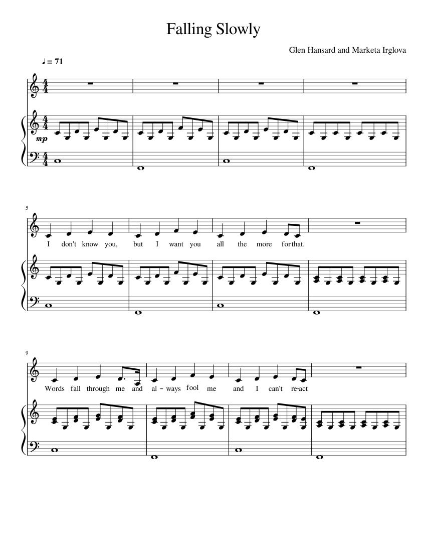 Falling Slowly Piano Sheet Music Pdf
