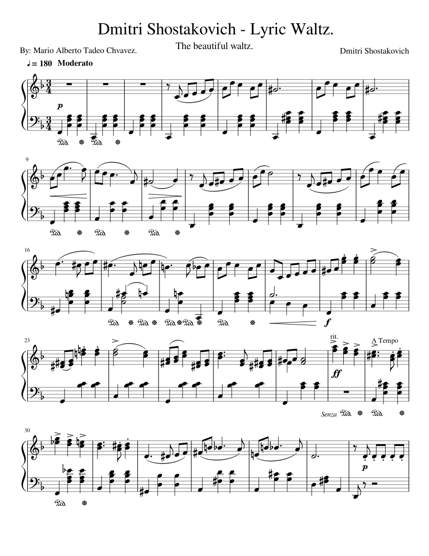 Dmitri Shostakovich-Lyric Waltz Piano sheet music for Piano download