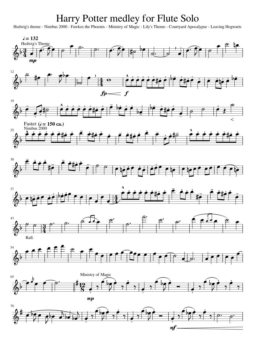 Harry Potter Medley For Flute Solo Sheet Music For Flute Download