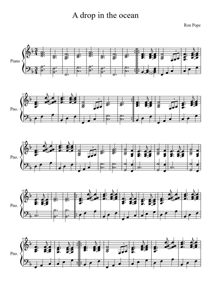 a drop in the ocean piano sheet free