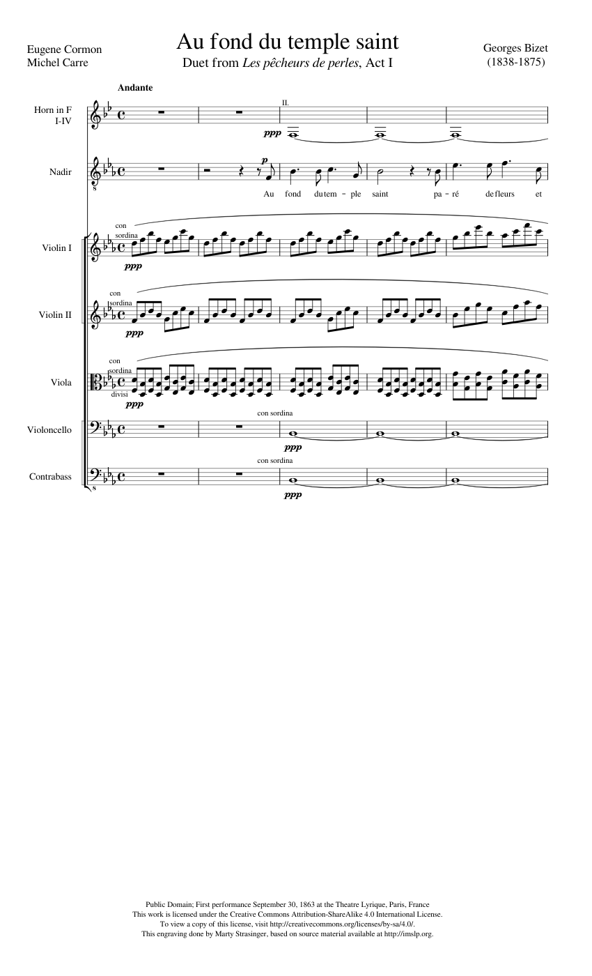 au fond du temple saint sheet music free