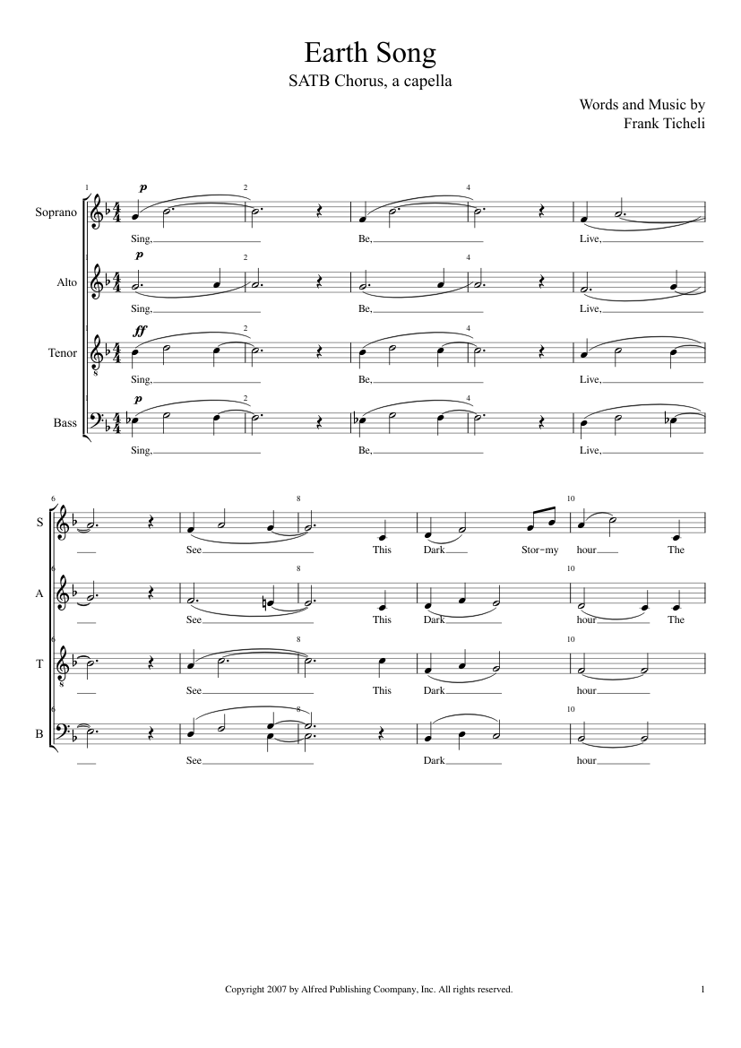 Earth Song sheet music for Flute, Voice, Oboe, Bassoon