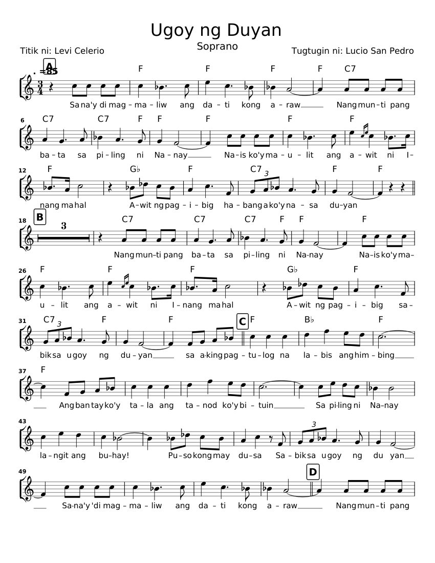 Ugoy Ng Duyan Sheet Music For Voice Download Free In Pdf Or Midi