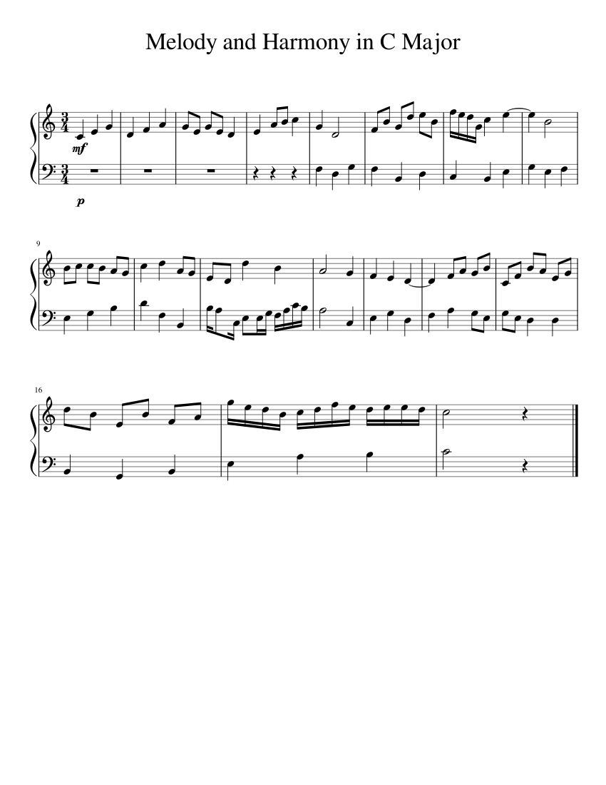 Melody and Harmony in C Major Sheet music for Piano (Solo ...