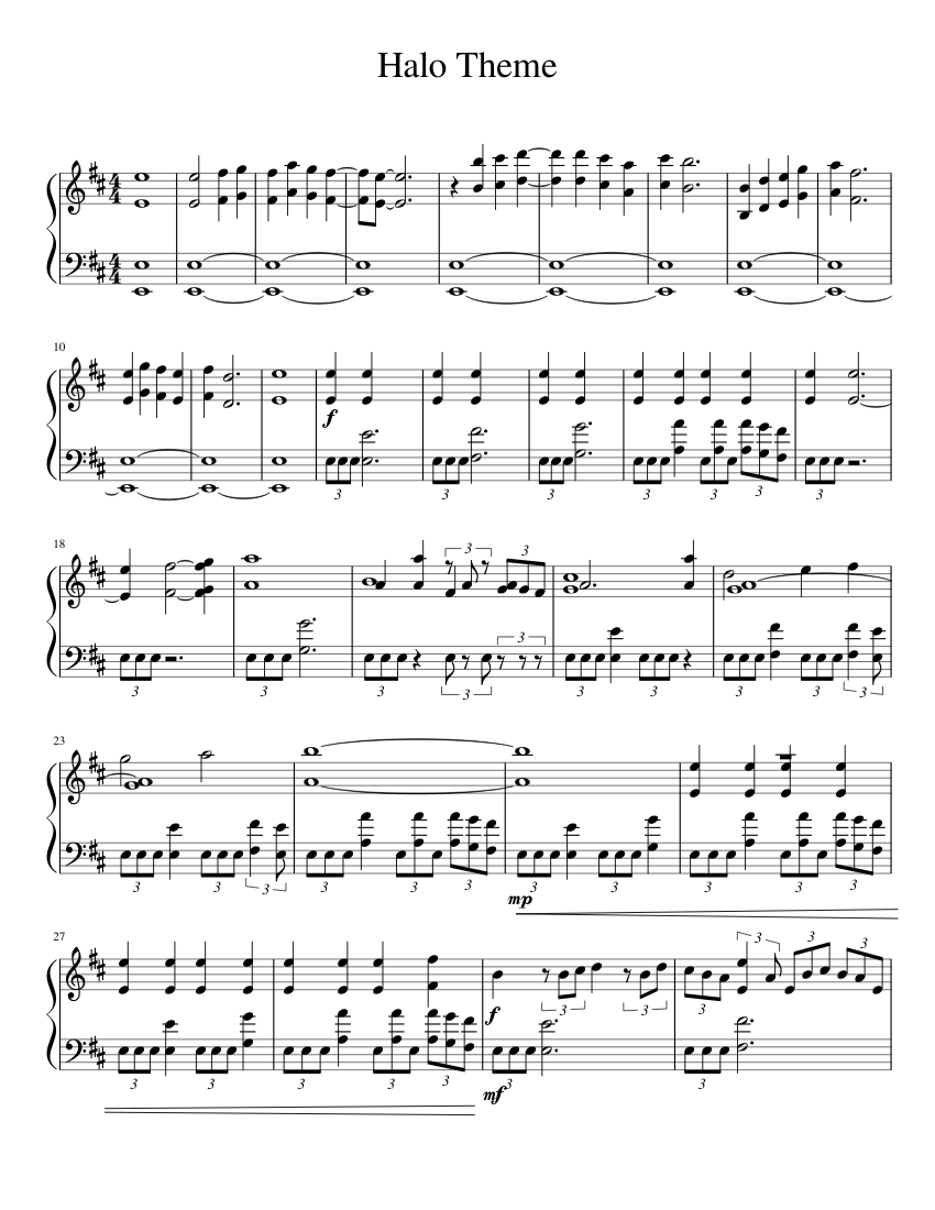 Halo Ce Theme Sheet Music For Piano Download Free In Pdf Or Midi