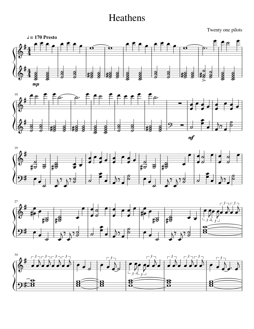 20 One Pilots Heathens heathens twenty one pilots sheet music for piano download