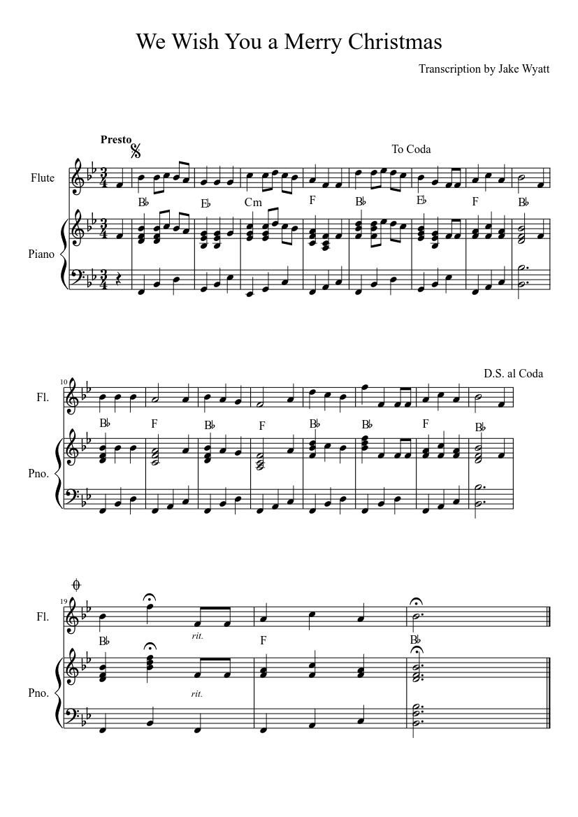 We Wish You A Merry Christmas Piano Sheet Music Advanced