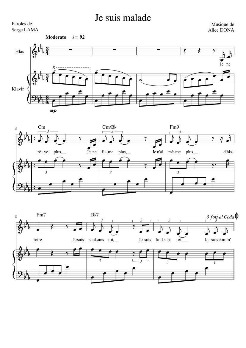 Je Suis Malade Lara Fabian Sheet Music For Piano Voice