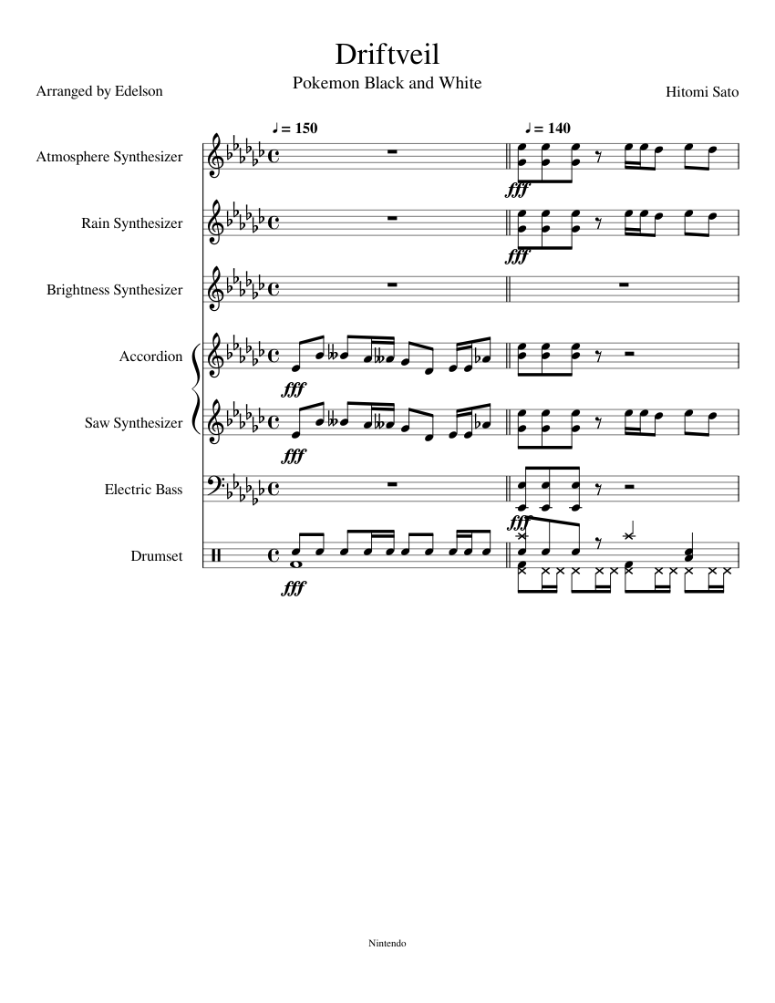 Driftveil City Pokemon Black And White Sheet Music For Drum Group Bass Accordion Synthesizer More Instruments Mixed Ensemble Musescore Com Driftveil city x calamari inkantation pokemon black 2 and pokemon white 2 vs splatoon. driftveil city pokemon black and white