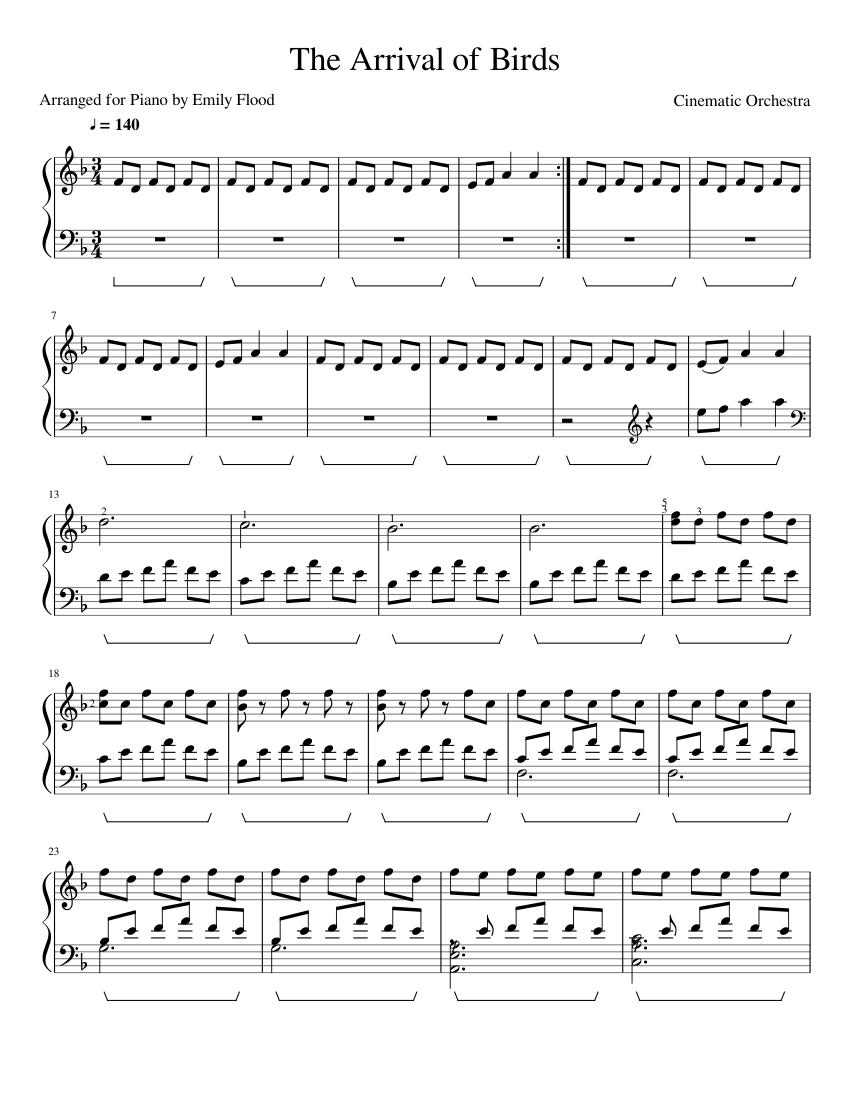 arrival of birds sheet music for piano (solo) | musescore.com  musescore.com