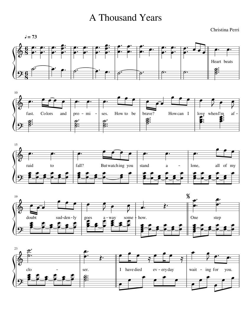 Christina Perri A Thousand Years Sheet Music For Piano Solo Musescore Com