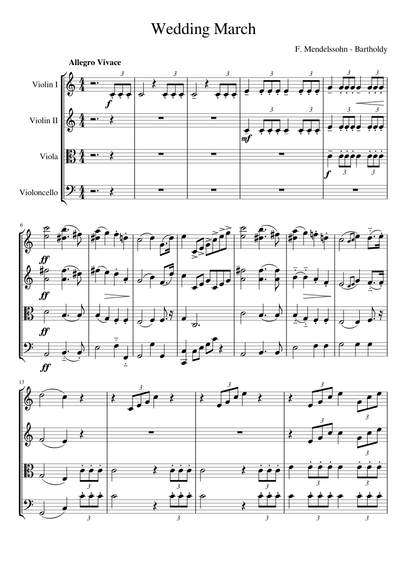 Wedding March Music   Wedding March For String Quarter Sheet Music For Violin Viola