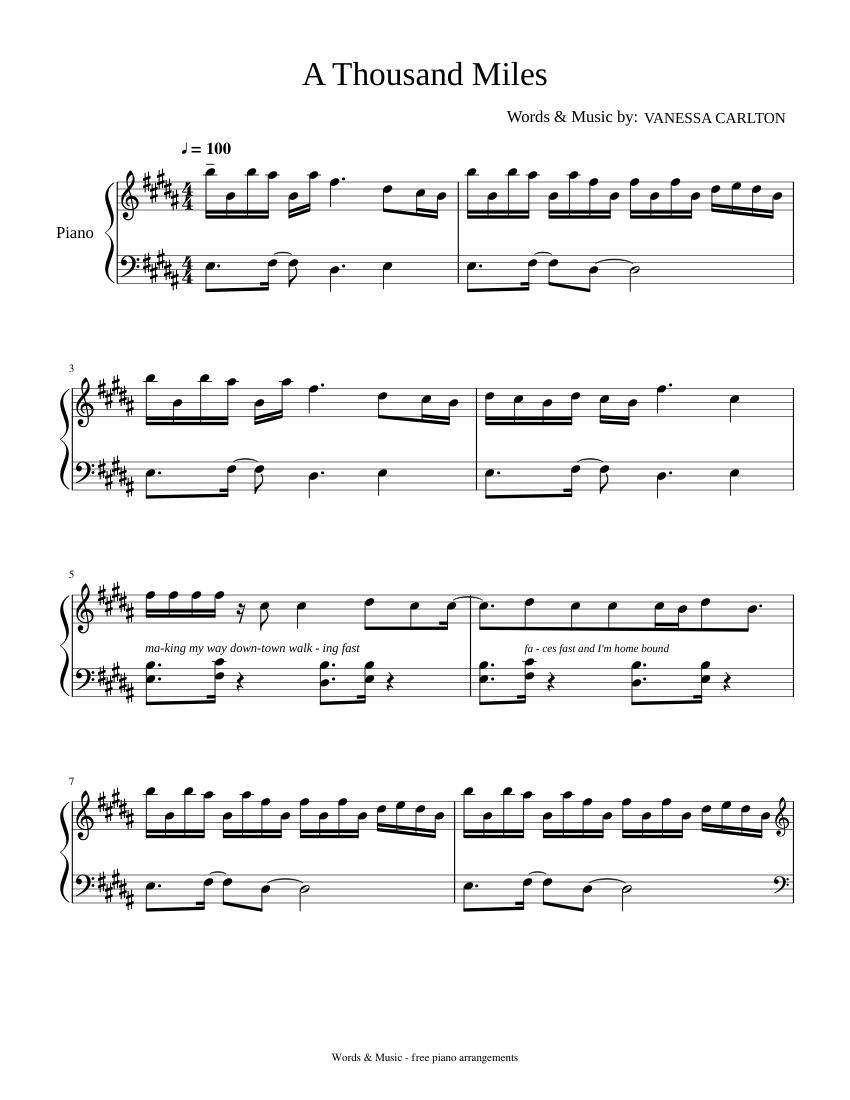 A Thousand Miles Sheet music for Piano Solo   Musescore.com