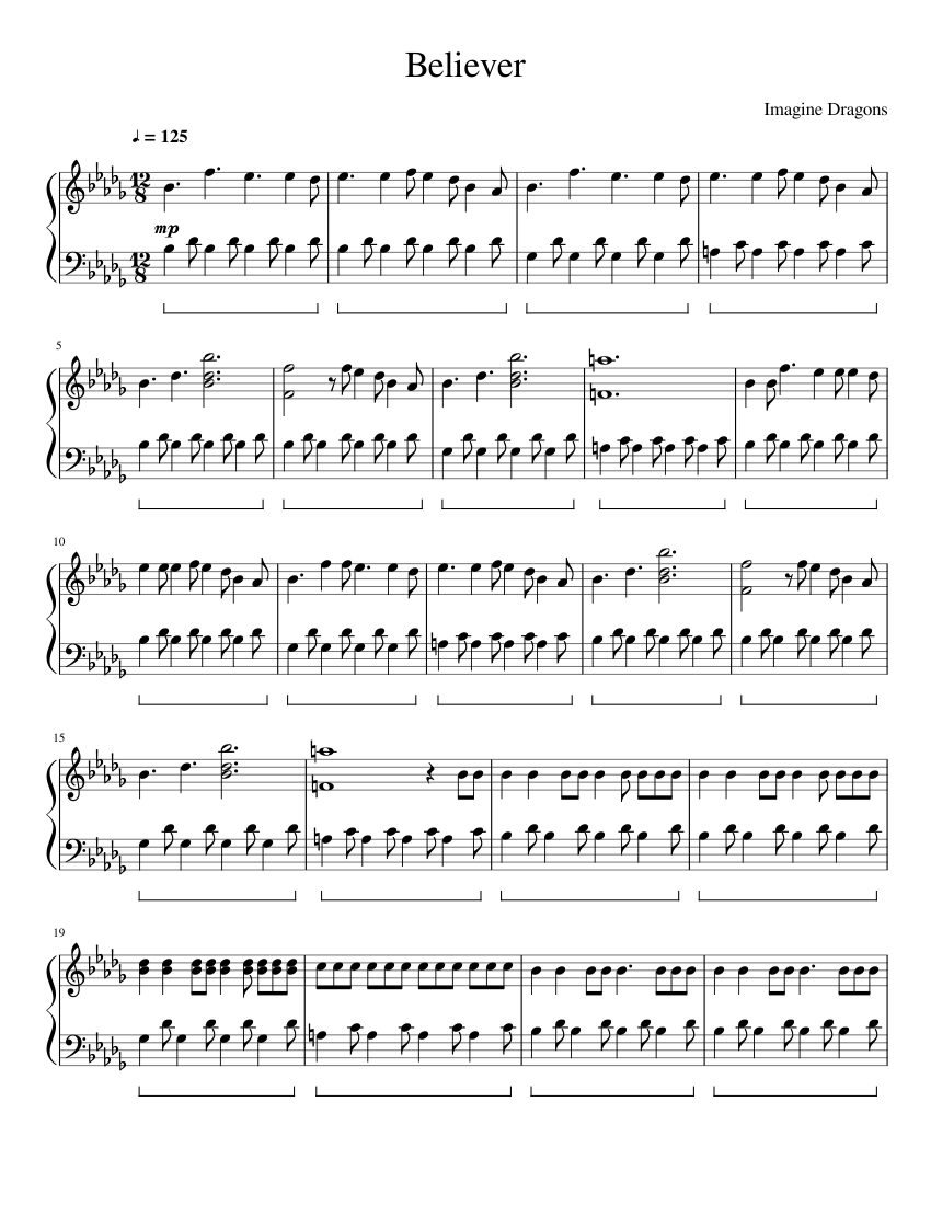 believer imagine dragons piano sheet music free easy