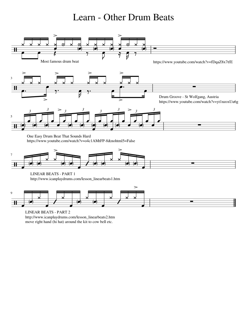 Learn - Other drum beats sheet music for Percussion download