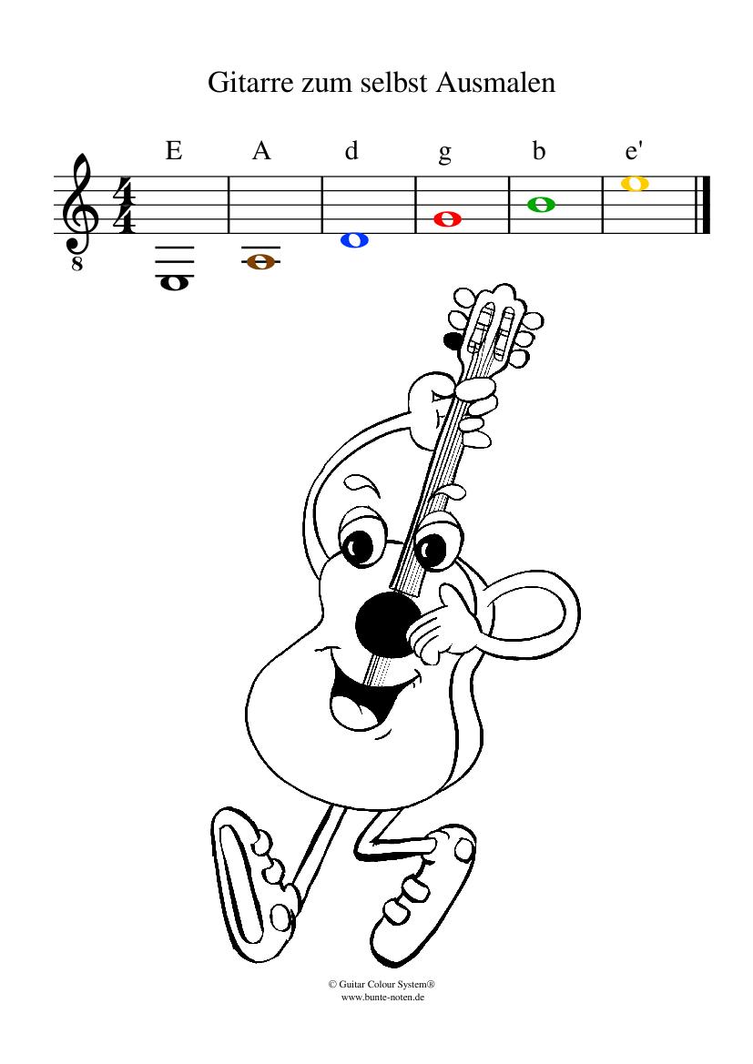 gitarre bilder zum ausmalen