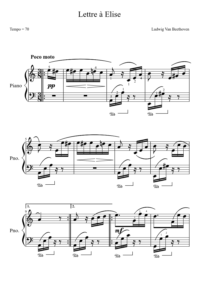 Lettre à Elise Sheet Music Download Free In Pdf Or Midi